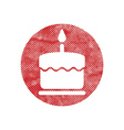 Cake icon with single candle with pixel print vector image