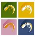 Modern flat icons collection shadow shrimp vector image