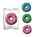 donut with packing for sweets vector image
