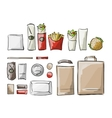 Tray with fast food sketch for your design vector image