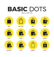 bag flat icons set vector image