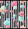 cute seamless pattern with flowers and stripes vector image