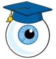 Eye Ball Cartoon Character With Graduate Cap vector image