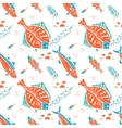 Flounder pattern in naive lino style vector image
