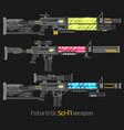 futuristic sci-fi weapon set vector image