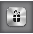 Gift icon - metal app button vector image