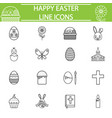 happy easter line icon set vector image
