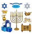 colorful set of Hanukkah objects Jewish holidays vector image