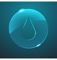 glass blue drop in circle icon vector image