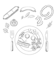 Breakfast with groceries and sausage vector image