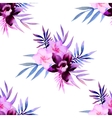 Watercolor seamless pattern of exotic flowers vector image