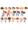 happy children with different writing tools vector image