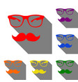 mustache and glasses sign set of red orange vector image