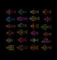 neon fish icons vector image