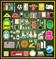 Set of school supplies on green chalk board vector image