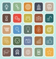 Start up line flat icons on green background vector image vector image