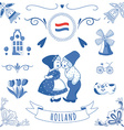Collection of Dutch ornaments Deflt blue style vector image