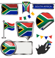 Glossy icons with South African flag vector image vector image