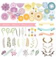 set of floral elements 1 vector image