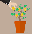 Hand pick lightbulb idea from tree vector image vector image