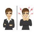 angry and happy expressions of businesswoman vector image