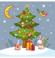 Christmas card with tree and gifts vector image