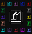 fishing icon sign Lots of colorful symbols for vector image