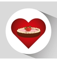 heart cartoon sweet pie strawberry and chocolate vector image