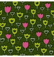 Seamless pattern with tulips and grass backdrop vector image