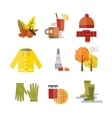 Collection of autumn clothes items vector image vector image