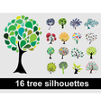 16 tree silhouettes vector image
