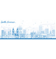 Outline south america skyline with famous vector image