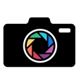 Camera icon with colorful lens vector image