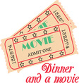 Dinner and Movie vector image