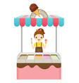Girl With Ice Cream Shop vector image
