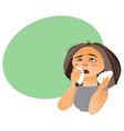 cartoon woman with rhinitis having flu allergy vector image