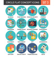 Circle Colorful Concept Icons Flat Design Set 3 vector image