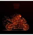 motorcycle racing low poly flame vector image