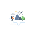 Outdoor sports activities backpacker icon vector image