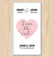 Save the date card with heart on wood vector image