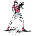 Sketch of woman playing tennis vector image