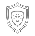 Shield with cross icon outline style vector image
