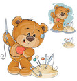 a teddy bear sewing on vector image