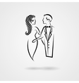 Lady and gentleman hand drawn silhouettes vector image