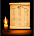 old paper with calendar 2012 vector image vector image