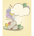 retro hand drawn plate of pasta vector image vector image