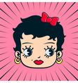 Vintage cartoon doll girl face vector image