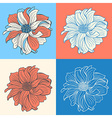 Hand-drawn flowers of dahlia set of four vector image