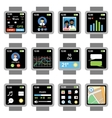 Square smartwatch Applications on the screen vector image
