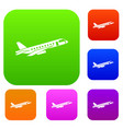 airplane taking off set collection vector image